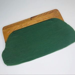 Vintage Fabric Clutch Carved Wooden Handle